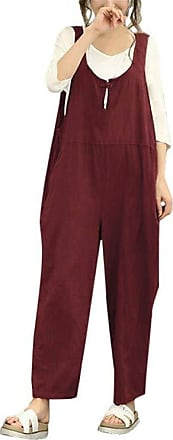 JERFER Women Sleeveless Dungarees Loose Cotton Long Playsuit Jumpsuit Pants Trousers (Red, 2X-Large)