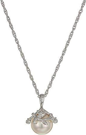 White Freshwater Cultured Pearls and Pave CZs Heart and Soul Rhodium Plate Sterling Silver Necklace 5 MM 18