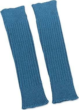 Novica 100% alpaca leg warmers, Blue Winter Dancer