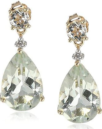 Amazon Collection 10k Yellow Gold Green Garnet and Diamond Drop Earrings (.02 cttw, I-J Color, 12-13 Clarity)