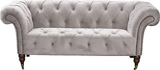 Dekoria Sofa Chesterfield Glamour Velvet Light Grey 2-Sitzer