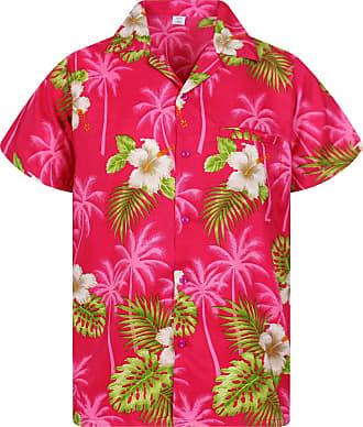 V.H.O. Funky Hawaiian Shirt, White Flower, pink, XXL