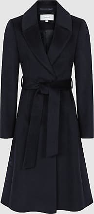 Reiss Hattie - Wool Blend Longline Coat in Navy, Womens, Size 12