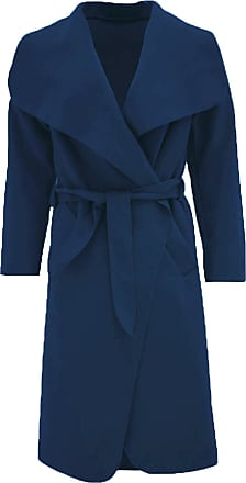 Parsa Fashions Malaika Womens Ladies Waterfall Long Full Sleeves Cape Cardigan Belted Jacket Trench Coat - Available in PLUS SIZES UK 8-20 (Plus Size (UK 20-22), Nav