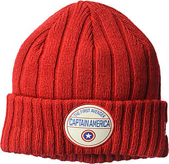 f0093848 New Era Cap Young Mens Captain America Retro Ribbed Knit Beanie Hat, red,  One