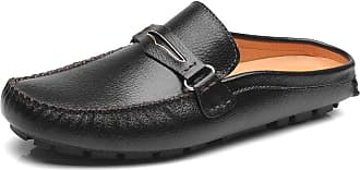 Jamron Mens Comfortable Faux Leather Carpet Slippers Mules Driving Loafers Moccasins Black SN19048 UK10