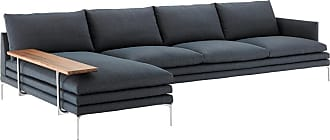 ZANOTTA Design William Chaise Modular Sofa & Walnut Shelf 3-Seater