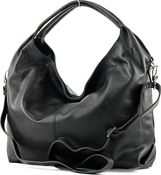 modamoda.de Italian Womens bag handbag shoulder bag leather nappa leather DS26, Colour:black