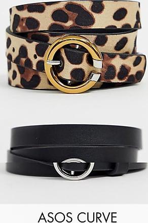 Asos Curve ASOS DESIGN Curve - Confezione da 2 cinture per jeans per vita e fianchi leopardate-Multicolore