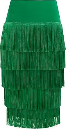 Norma Kamali Tiered-fringe Stretch-jersey Pencil Skirt - Womens - Green