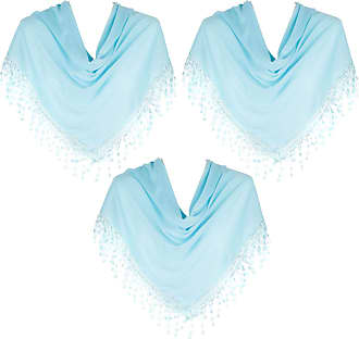 Hat To Socks HatToSocks Triangle Scarf with Bobbin Lace Fringes for Women Pack of 3 (Turquoise)
