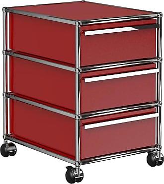 USM Haller Rollcontainer mit 3 Schubladen - USM rubinrot/41.8 x 60.5 x 52.3 cm