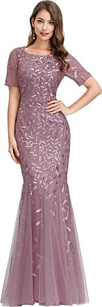 Ever-pretty Woment Elagant Short Sleeve Long Mermaid Sequin Tulle Evening Dresses Orchid 20UK