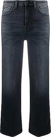 7 For All Mankind Calça jeans cropped com efeito desbotado - Azul