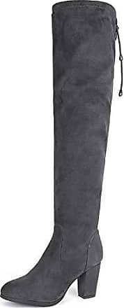 Damen Grau Overknees High Boots Oberschenkel Overknee Stiefel Stretch Flach