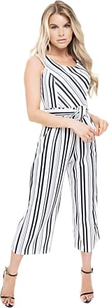 Girly HandBags Striped Bardot Culotte Jumpsuit - White