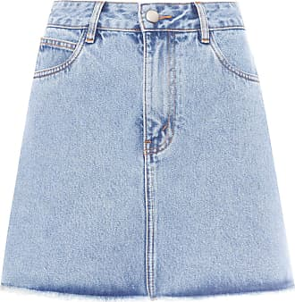 HELENA BORDON Saia Jeans Bordado - Azul
