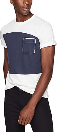 French Connection Mens Short Sleeve Crew Neck Regular Fit Graphic T-Shirt, Cuba White/Utility Blue, XL