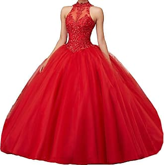 Generic JJL Girls Sweet 16 Quinceanera Dresses Sheer Neck Ball Gown Princess Prom Gowns Red