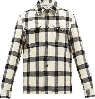 Ami Ami - Checked Brushed-wool Overshirt - Mens - Cream Multi