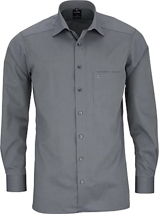 Olymp Modern Fit Mens Long-Sleeved Shirt - Grey - 18