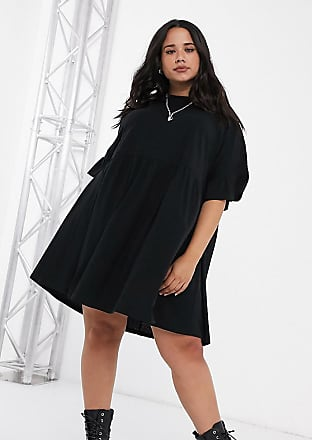 Asos Curve ASOS DESIGN Curve - Vestito grembiule super oversize con maniche a volant nero