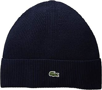 Lacoste Mens Solid Half Cardigan Rib Wool Beanie, Navy Blue, One Size