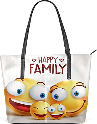 NaiiaN Leather Smile Face Happy Family Purse Shopping for Women Girls Ladies Student Light Weight Strap Wildlife Shoulder Bags Handbags Tote Bag