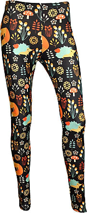 Insanity Adorable Fox, Rabbit and Hedgehog All Over Printed Leggings (L/XL) Black