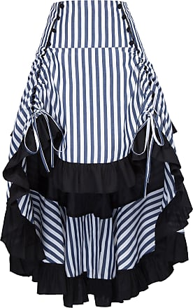 Belle Poque Punk Gothic High Low Long Ruffled Amelia Halloween Skirt Retro Vintage Victorian Striped Skirt XXL