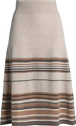 9825da2f56 Agnona Agnona Woman Metallic Striped Cashmere-blend Skirt Neutral Size L