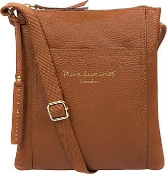 Pure Luxuries London Pure Luxuries London Belinda Womens 24cm Biodegradable Leather Cross Body Bag with Zip Over Top, Unlined Central Compartment and Adjustable Webbed Can
