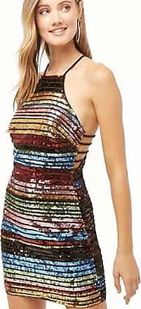 Forever 21 Forever 21 Rainbow Sequin Halter Dress Black/multi