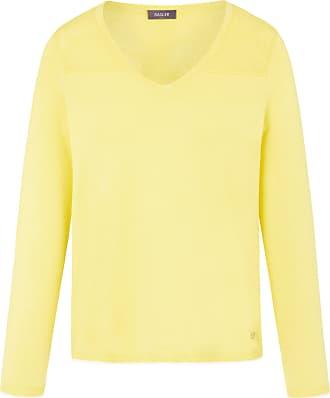 Basler V-neck jumper pointelle pattern Basler yellow