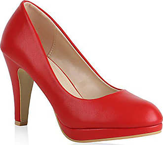 e614b67488794a Stiefelparadies Damen Plateau Pumps Leder-Optik Schuhe Stiletto High Heels  Basic 159541 Rot Rot 36
