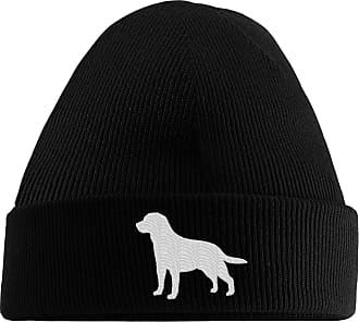 HippoWarehouse Labrador Logo Embroidered Beanie Hat Black
