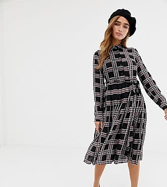 Glamorous midi shirt dress in check-Black