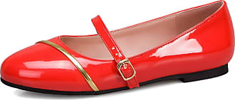 Mediffen Mary Jane Shoes Flats Women Comfort Casual Walking Driving Shoes Pointed Toe Women Dolly Shoes Office Flat Shoes Red Size 45 Asian