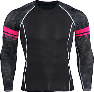 YiJee Mens Sports Running T-Shirt Compression T-Shirts Long Sleeves Fitness Base Layer Tops As Picture2 M