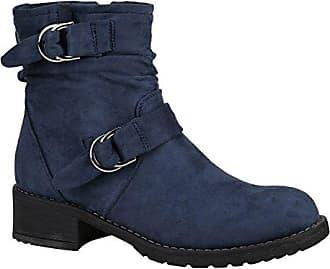 a04a5ddbc8805a Stiefelparadies Damen Biker Boots Stiefeletten Stiefel Schnallen Gefüttert  Schuhe 148859 Dunkelblau Schnalle Schnallen 37 Flandell