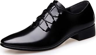 LanFengeu Men Formal Leather Shoes Pointed Toe Lace up Derbys Business Casual Wedding Party Low Top Non Slip Dress Shoe Black