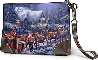 GLGFashion Womens Leather Wristlet Clutch Wallet Merry Christmas Reindeer Santa Claus Storage Purse With Strap Zipper Pouch