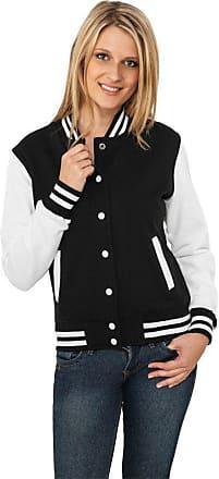 Urban Classics Womens Ladies 2-tone College Sweatjacket Varsity Long Sleeve Sweat Jacket, Multicolored (Blk/Wht), X-Large (Manufacturer size: X-Large)
