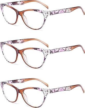 Inlefen 3 Pack Vintage Cat Eye Reading Glasses Flower pattern frame Eyewear for Women