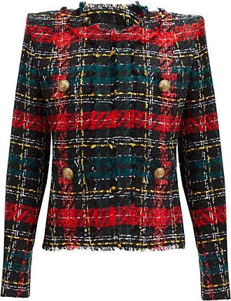 Balmain Tartan Tweed Jacket - Womens - Red Multi