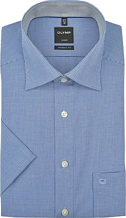 Olymp Luxor modern fit New Kent collar half sleeve check pattern shirt dark blue - Blue - 42