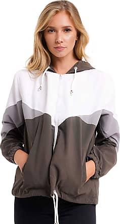 Noroze Women Hooded Panel Wind Breaker Jacket Summer Top (XS, Khaki)