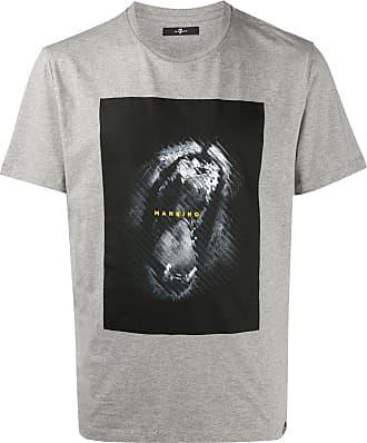 7 For All Mankind Camiseta de algodão com estampa gráfica - Cinza