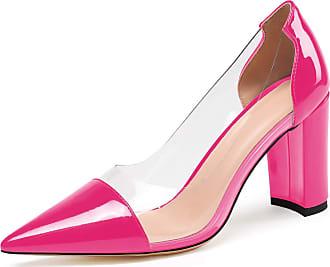 EDEFS Womens Pointed Toe Transparent PVC High Heel Shoes Slip On Block Pumps Rose EU45/UK10.5