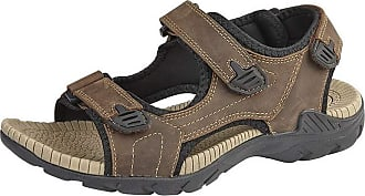 Roamers Mens Leather Sandals 3 Touch Fastening Supersoft Phylon Sock Shoes Size - Brown - UK 10